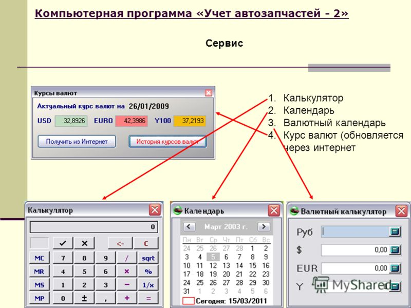 Компьютерная программа «Учет автозапчастей - 2» Сервис 1.Калькулятор 2.Календарь 3.Валютный календарь 4.Курс валют (обновляется через интернет