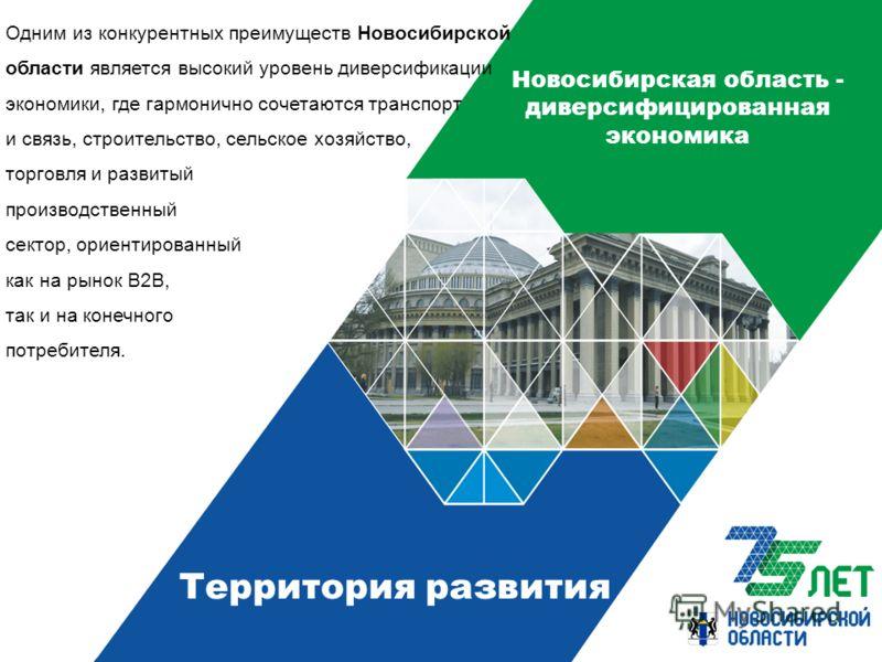 Новосибирская область - диверсифицированная экономика Одним из конкурентных преимуществ Новосибирской области является высокий уровень диверсификации экономики, где гармонично сочетаются транспорт и связь, строительство, сельское хозяйство, торговля