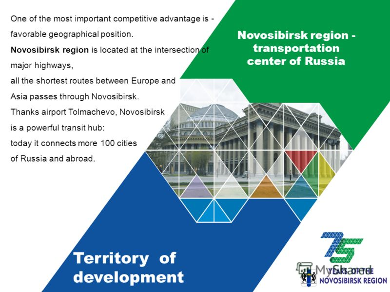 Novosibirsk region - transportation center of Russia One of the most important competitive advantage is - favorable geographical position. Novosibirsk region is located at the intersection of major highways, all the shortest routes between Europe and