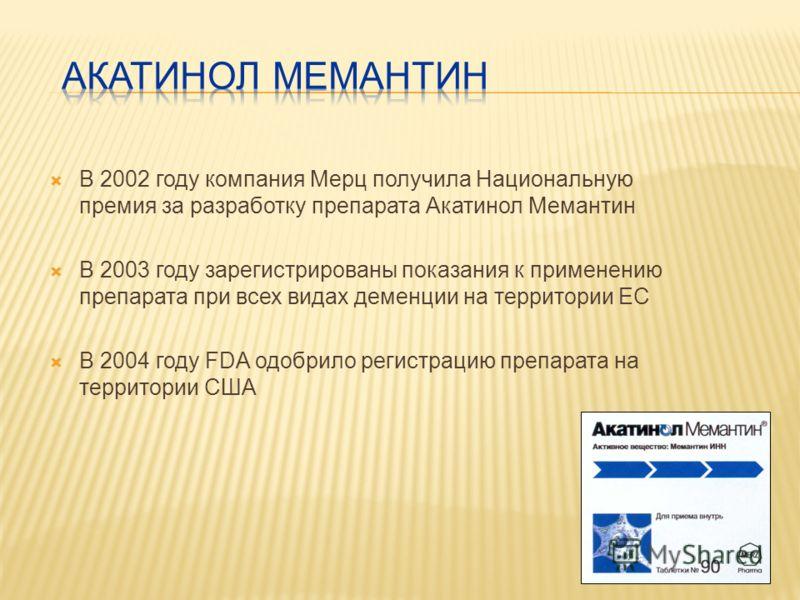 В 2002 году компания Мерц получила Национальную премия за разработку препарата Акатинол Мемантин В 2003 году зарегистрированы показания к применению препарата при всех видах деменции на территории ЕС В 2004 году FDA одобрило регистрацию препарата на