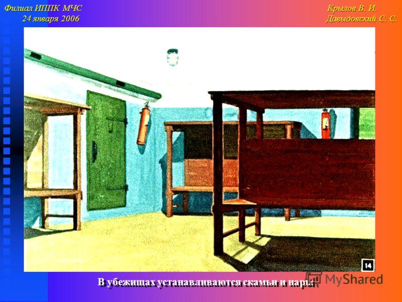 Филиал ИППК МЧС Крылов В. И. 24 января 2006 Давыдовский С. С. 24 января 2006 Давыдовский С. С. В убежищах устанавливаются скамьи и нары