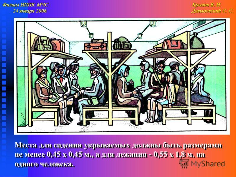 Филиал ИППК МЧС Крылов В. И. 24 января 2006 Давыдовский С. С. 24 января 2006 Давыдовский С. С. Места для сидения укрываемых должны быть размерами не менее 0,45 х 0,45 м., а для лежания - 0,55 х 1,8 м. на одного человека.