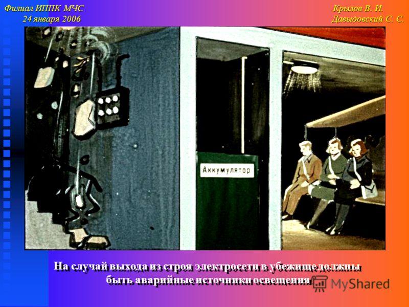 Филиал ИППК МЧС Крылов В. И. 24 января 2006 Давыдовский С. С. 24 января 2006 Давыдовский С. С. На случай выхода из строя электросети в убежище должны быть аварийные источники освещения На случай выхода из строя электросети в убежище должны быть авари