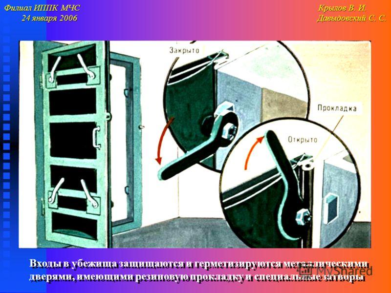 Филиал ИППК МЧС Крылов В. И. 24 января 2006 Давыдовский С. С. 24 января 2006 Давыдовский С. С. Входы в убежища защищаются и герметизируются металлическими дверями, имеющими резиновую прокладку и специальные затворы Входы в убежища защищаются и гермет