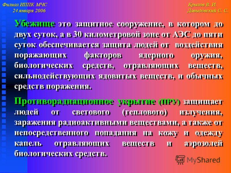 Филиал ИППК МЧС Крылов В. И. 24 января 2006 Давыдовский С. С. 24 января 2006 Давыдовский С. С. Убежище это защитное сооружение, в котором до двух суток, а в 30 километровой зоне от АЭС до пяти суток обеспечивается защита людей от воздействия поражающ