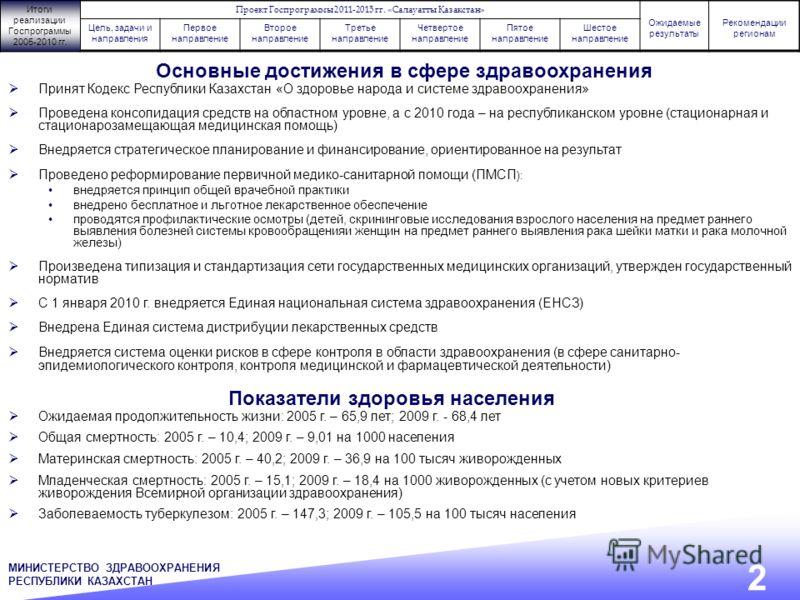 Принят Кодекс Республики Казахстан «О здоровье народа и системе здравоохранения» Проведена консолидация средств на областном уровне, а с 2010 года – на республиканском уровне (стационарная и стационарозамещающая медицинская помощь) Внедряется стратег