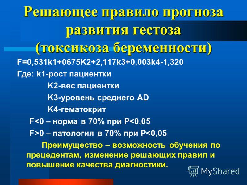 Решающее правило прогноза развития гестоза (токсикоза беременности) F=0,531k1+0675K2+2,117k3+0,003k4-1,320 Где: k1-рост пациентки K2-вес пациентки K3-уровень среднего AD K4-гематокрит F