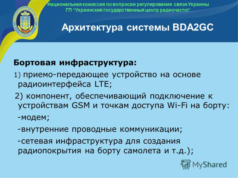 Архитектура системы BDA2GC Бортовая инфраструктура: 1) приемо-передающее устройство на основе радиоинтерфейса LTE; 2) компонент, обеспечивающий подключение к устройствам GSM и точкам доступа Wi-Fi на борту: -модем; -внутренние проводные коммуникации;