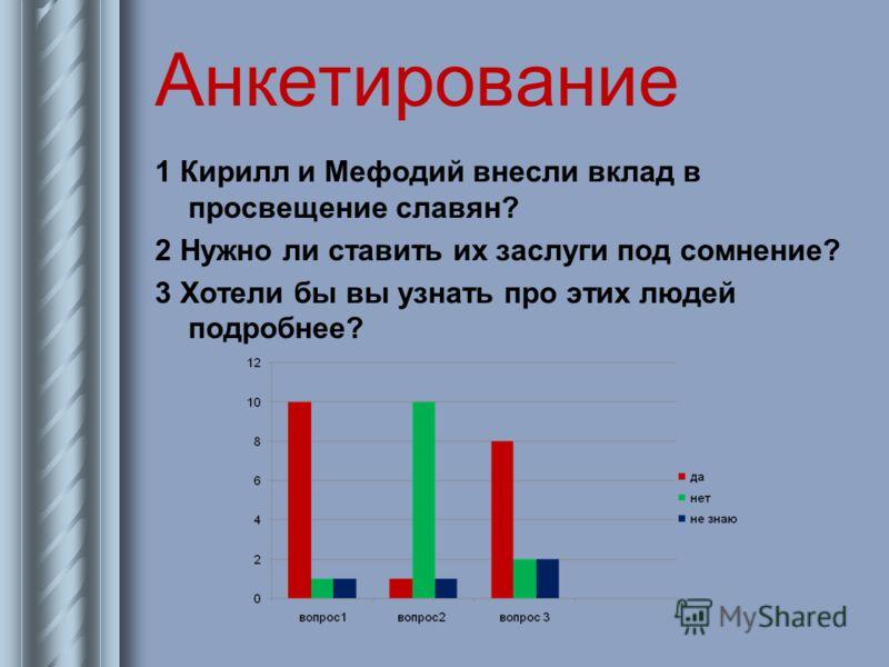 Анкетирование 1 Кирилл и Мефодий внесли вклад в просвещение славян? 2 Нужно ли ставить их заслуги под сомнение? 3 Хотели бы вы узнать про этих людей подробнее?