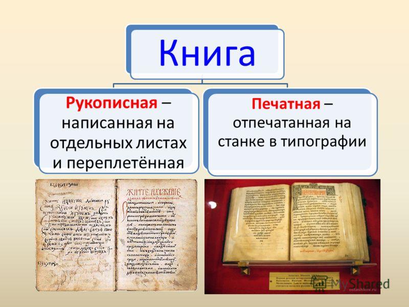 Книга Рукописная – написанная на отдельных листах и переплетённая Печатная – отпечатанная на станке в типографии