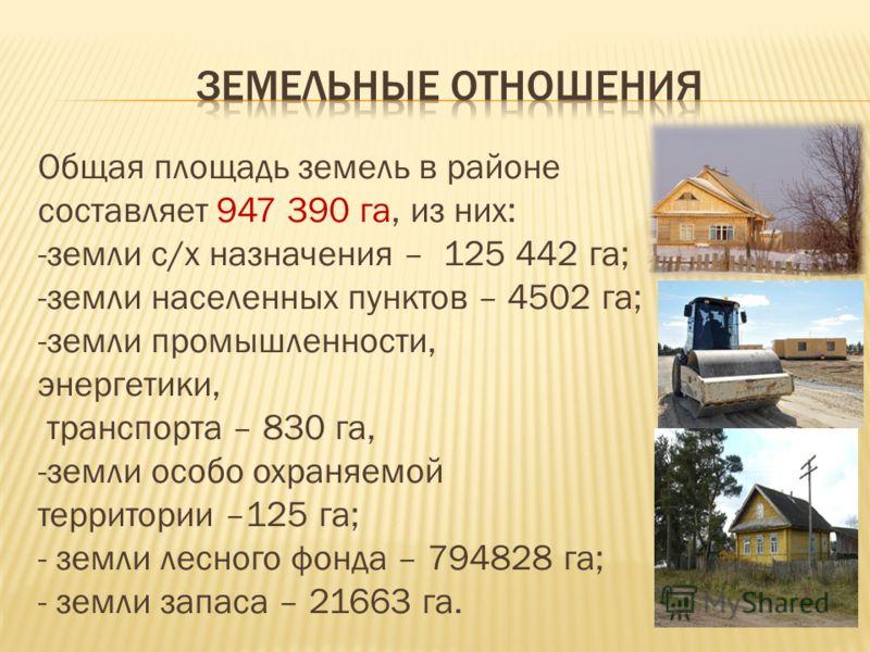 Общая площадь земель в районе составляет 947 390 га, из них: -земли с/х назначения – 125 442 га; -земли населенных пунктов – 4502 га; -земли промышленности, энергетики, транспорта – 830 га, -земли особо охраняемой территории –125 га; - земли лесного