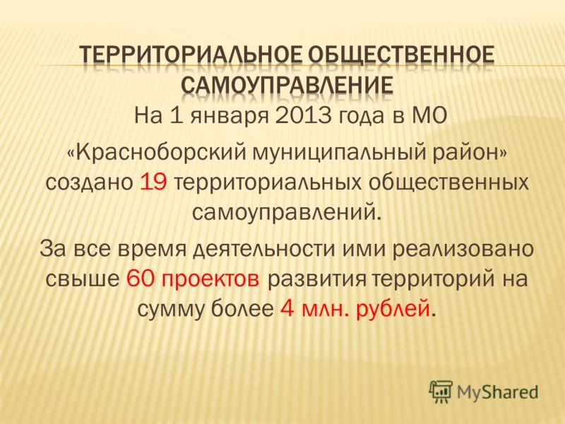 На 1 января 2013 года в МО «Красноборский муниципальный район» создано 19 территориальных общественных самоуправлений. За все время деятельности ими реализовано свыше 60 проектов развития территорий на сумму более 4 млн. рублей.