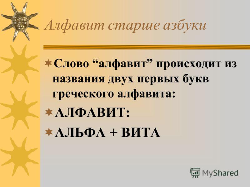 Алфавит старше азбуки Слово алфавит происходит из названия двух первых букв греческого алфавита: АЛФАВИТ: АЛЬФА + ВИТА