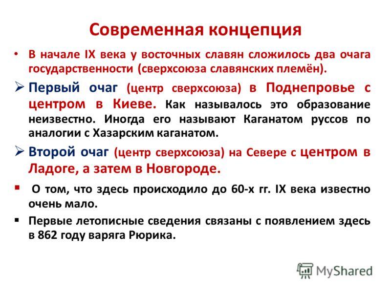 Современная концепция В начале IX века у восточных славян сложилось два очага государственности (сверхсоюза славянских племён). Первый очаг (центр сверхсоюза) в Поднепровье с центром в Киеве. Как называлось это образование неизвестно. Иногда его назы