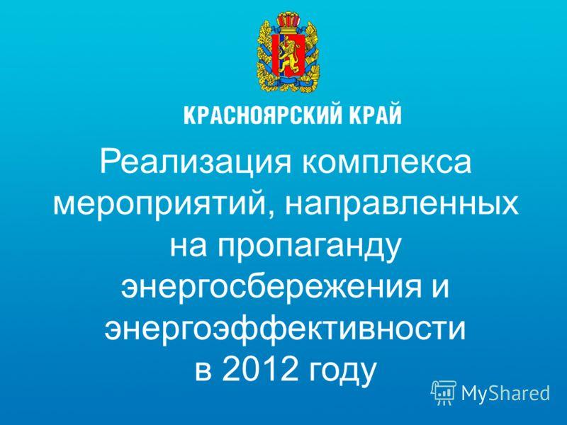 Реализация комплекса мероприятий, направленных на пропаганду энергосбережения и энергоэффективности в 2012 году