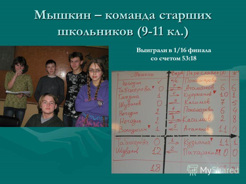 Мышкин – команда старших школьников (9-11 кл.) Выиграли в 1/16 финала со счетом 53:18