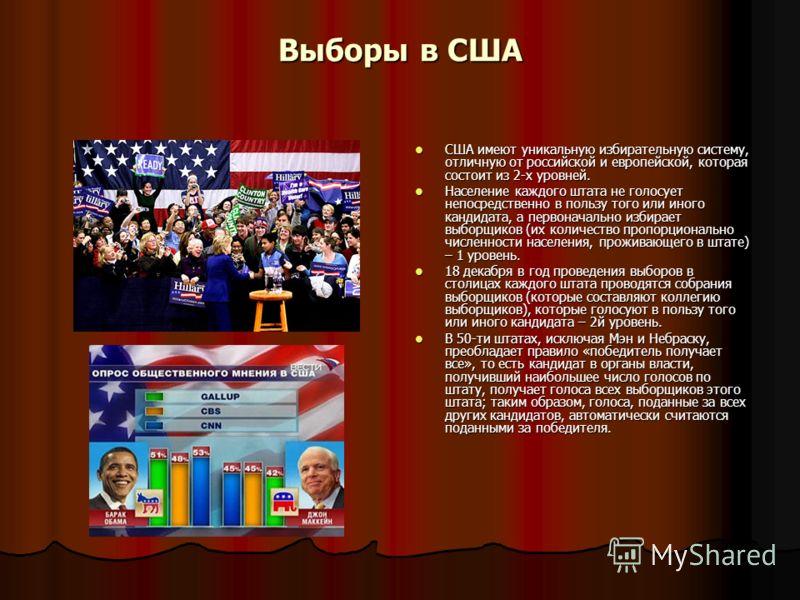 Выборы в США США имеют уникальную избирательную систему, отличную от российской и европейской, которая состоит из 2-х уровней. США имеют уникальную избирательную систему, отличную от российской и европейской, которая состоит из 2-х уровней. Население