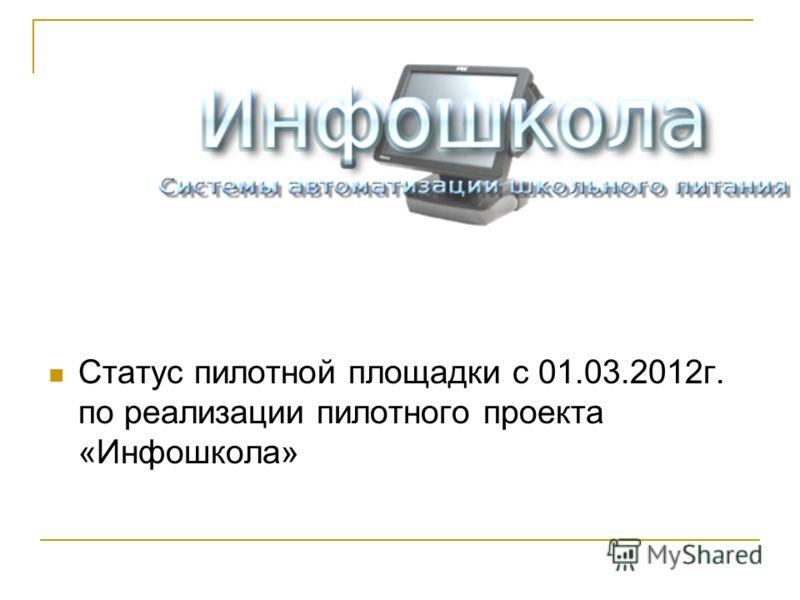 Статус пилотной площадки с 01.03.2012г. по реализации пилотного проекта «Инфошкола»