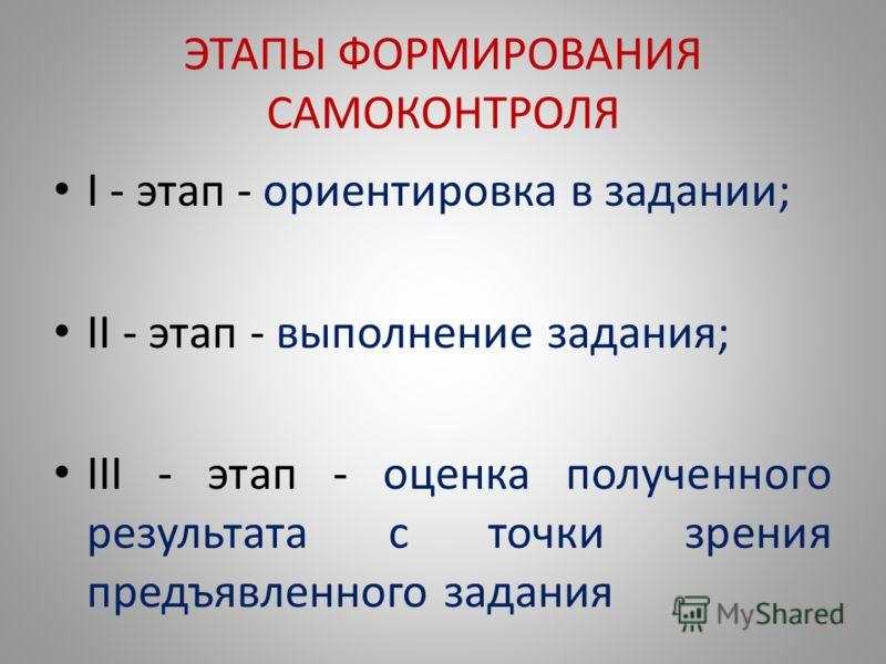ЭТАПЫ ФОРМИРОВАНИЯ САМОКОНТРОЛЯ I - этап - ориентировка в задании; II - этап - выполнение задания; III - этап - оценка полученного результата с точки зрения предъявленного задания