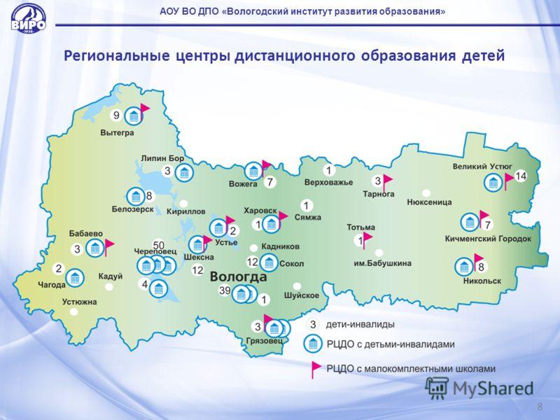Региональные центры дистанционного образования детей 8 АОУ ВО ДПО «Вологодский институт развития образования»