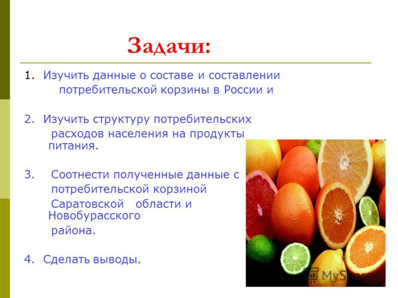 Задачи: 1. Изучить данные о составе и составлении потребительской корзины в России и 2. Изучить структуру потребительских расходов населения на продукты питания. 3. Соотнести полученные данные с потребительской корзиной Саратовской области и Новобура