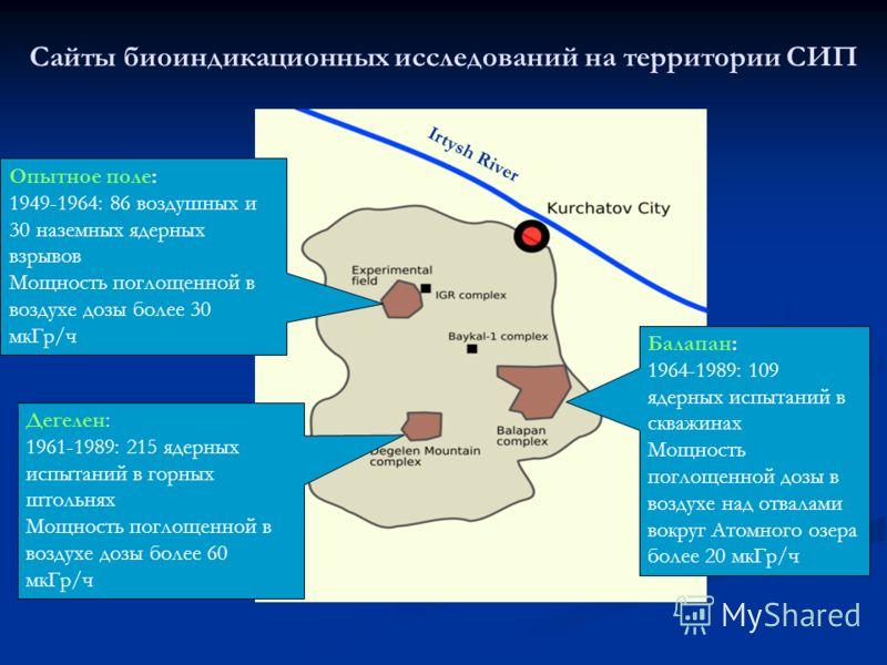 Сайты биоиндикационных исследований на территории СИП Irtysh River Опытное поле: 1949-1964: 86 воздушных и 30 наземных ядерных взрывов Мощность поглощенной в воздухе дозы более 30 мкГр/ч Дегелен: 1961-1989: 215 ядерных испытаний в горных штольнях Мощ