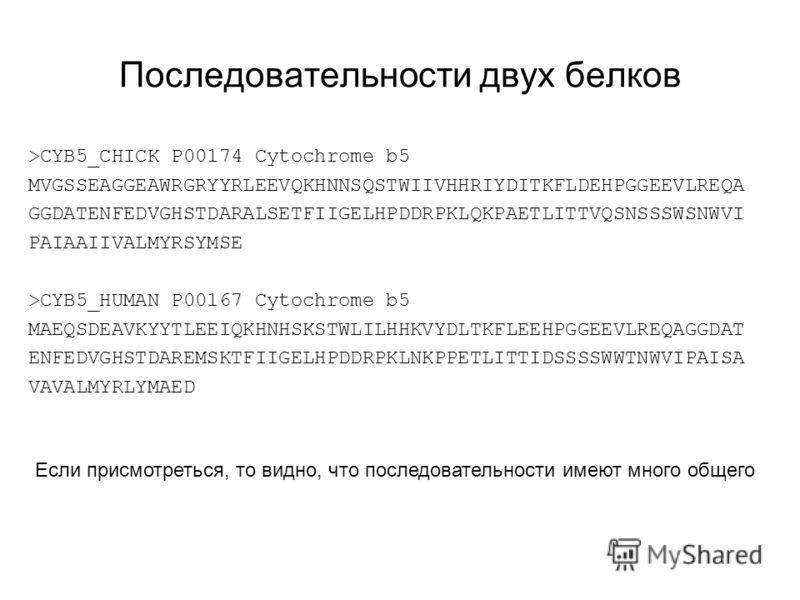Последовательности двух белков >CYB5_CHICK P00174 Cytochrome b5 MVGSSEAGGEAWRGRYYRLEEVQKHNNSQSTWIIVHHRIYDITKFLDEHPGGEEVLREQA GGDATENFEDVGHSTDARALSETFIIGELHPDDRPKLQKPAETLITTVQSNSSSWSNWVI PAIAAIIVALMYRSYMSE >CYB5_HUMAN P00167 Cytochrome b5 MAEQSDEAVKYY