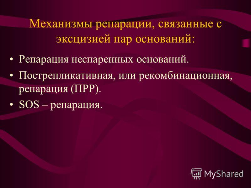 Механизмы репарации, связанные с эксцизией пар оснований: Репарация неспаренных оснований. Пострепликативная, или рекомбинационная, репарация (ПРР). SOS – репарация.