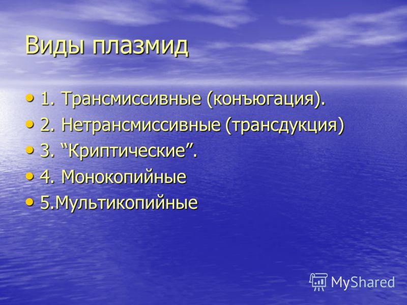 Виды плазмид 1. Трансмиссивные (конъюгация). 1. Трансмиссивные (конъюгация). 2. Нетрансмиссивные (трансдукция) 2. Нетрансмиссивные (трансдукция) 3. Криптические. 3. Криптические. 4. Монокопийные 4. Монокопийные 5.Мультикопийные 5.Мультикопийные
