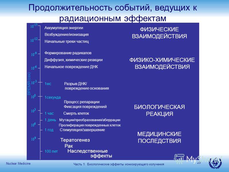 Nuclear Medicine 25 Продолжительность событий, ведущих к радиационным эффектам Часть 1. Биологические эффекты ионизирующего излучения ФИЗИЧЕСКИЕ ВЗАИМОДЕЙСТВИЯ ФИЗИКО-ХИМИЧЕСКИЕ ВЗАИМОДЕЙСТВИЯ БИОЛОГИЧЕСКАЯ РЕАКЦИЯ МЕДИЦИНСКИЕ ПОСЛЕДСТВИЯ Аккумуляция