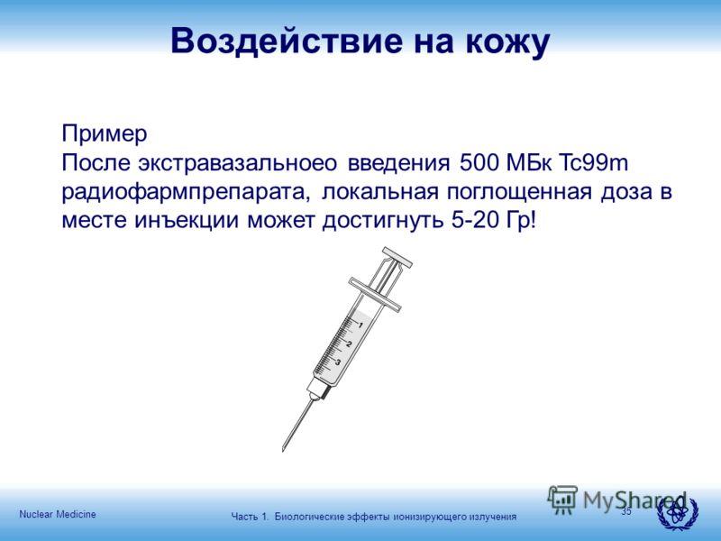 Nuclear Medicine 35 Воздействие на кожу Пример После экстравазальноео введения 500 МБк Tc99m радиофармпрепарата, локальная поглощенная доза в месте инъекции может достигнуть 5-20 Гр! Часть 1. Биологические эффекты ионизирующего излучения