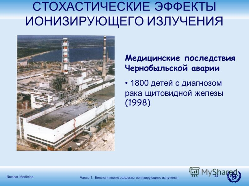 Nuclear Medicine 44 СТОХАСТИЧЕСКИЕ ЭФФЕКТЫ ИОНИЗИРУЮЩЕГО ИЗЛУЧЕНИЯ Медицинские последствия Чернобыльской аварии 1800 детей с диагнозом рака щитовидной железы (1998) Часть 1. Биологические эффекты ионизирующего излучения