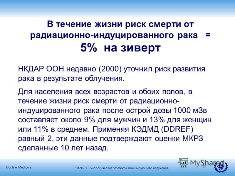 Nuclear Medicine 81 НКДАР ООН недавно (2000) уточнил риск развития рака в результате облучения. Для населения всех возрастов и обоих полов, в течение жизни риск смерти от радиационно- индуцированного рака после острой дозы 1000 мЗв составляет около 9