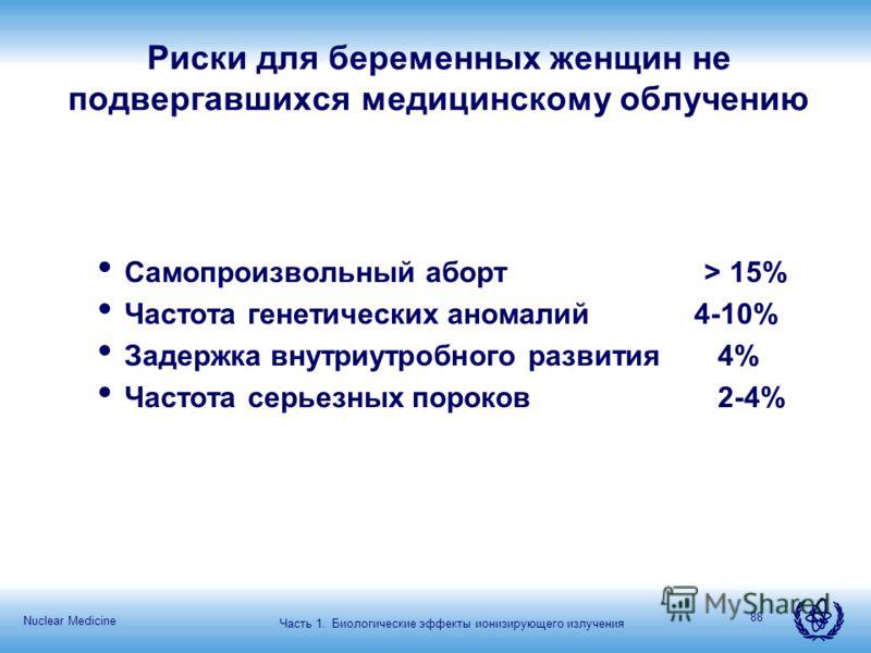 Nuclear Medicine 88 Риски для беременных женщин не подвергавшихся медицинскому облучению Самопроизвольный аборт > 15% Частота генетических аномалий 4-10% Задержка внутриутробного развития 4% Частота серьезных пороков 2-4% Часть 1. Биологические эффек