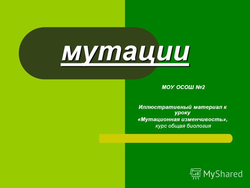 мутации МОУ ОСОШ 2 Иллюстративный материал к уроку «Мутационная изменчивость», курс общая биология