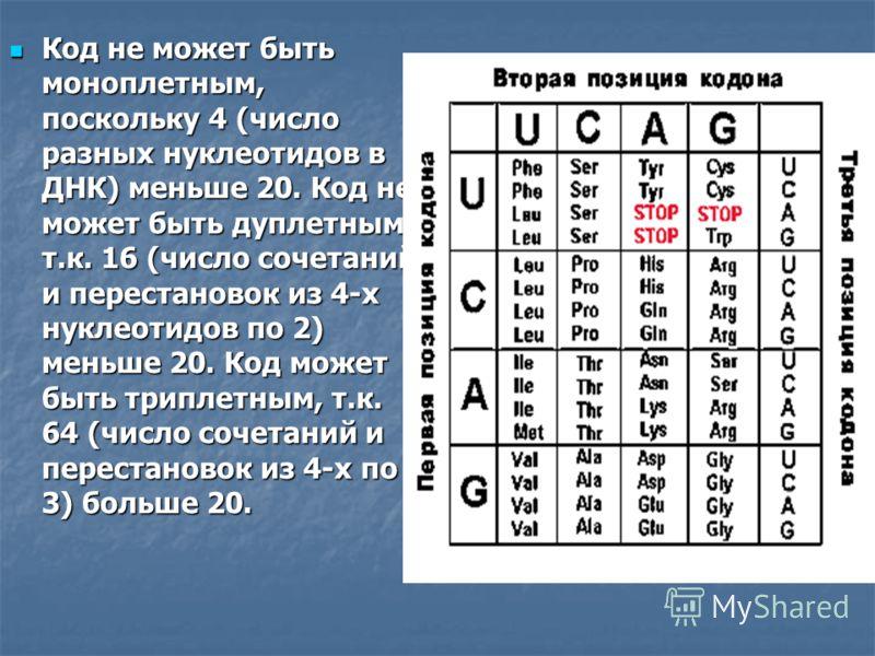 Код не может быть моноплетным, поскольку 4 (число разных нуклеотидов в ДНК) меньше 20. Код не может быть дуплетным, т.к. 16 (число сочетаний и перестановок из 4-х нуклеотидов по 2) меньше 20. Код может быть триплетным, т.к. 64 (число сочетаний и пере