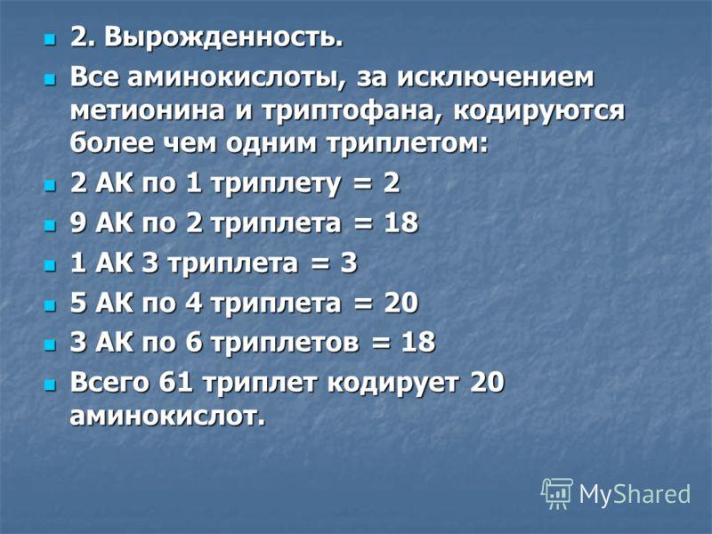 2. Вырожденность. 2. Вырожденность. Все аминокислоты, за исключением метионина и триптофана, кодируются более чем одним триплетом: Все аминокислоты, за исключением метионина и триптофана, кодируются более чем одним триплетом: 2 АК по 1 триплету = 2 2