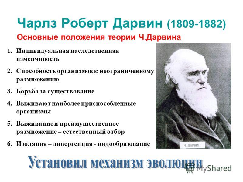 Чарлз Роберт Дарвин (1809-1882) Основные положения теории Ч.Дарвина 1.Индивидуальная наследственная изменчивость 2.Способность организмов к неограниченному размножению 3.Борьба за существование 4.Выживают наиболее приспособленные организмы 5.Выживани