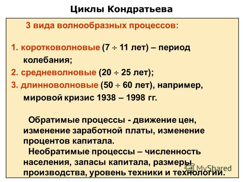 Циклы Кондратьева 3 вида волнообразных процессов: 1. коротковолновые (7 11 лет) – период колебания; 2. средневолновые (20 25 лет); 3. длинноволновые (50 60 лет), например, мировой кризис 1938 – 1998 гг. Обратимые процессы - движение цен, изменение за