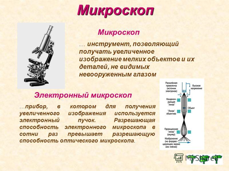 Микроскоп Микроскоп Электронный микроскоп …прибор, в котором для получения увеличенного изображения используется электронный пучок. Разрешающая способность электронного микроскопа в сотни раз превышает разрешающую способность оптического микроскопа.