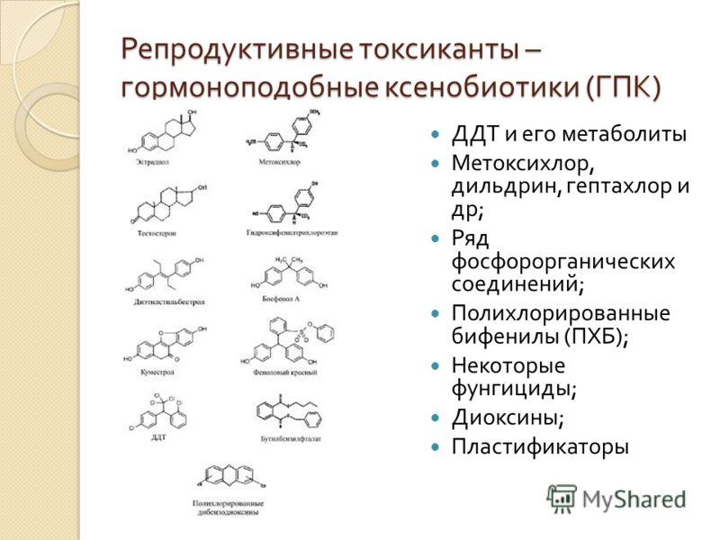 Репродуктивные токсиканты – гормоноподобные ксенобиотики ( ГПК ) ДДТ и его метаболиты Метоксихлор, дильдрин, гептахлор и др ; Ряд фосфорорганических соединений ; Полихлорированные бифенилы ( ПХБ ); Некоторые фунгициды ; Диоксины ; Пластификаторы