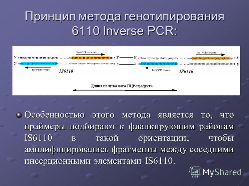 Принцип метода генотипирования 6110 Inverse PCR: Особенностью этого метода является то, что праймеры подбирают к фланкирующим районам IS6110 в такой ориентации, чтобы амплифицировались фрагменты между соседними инсерционными элементами IS6110.