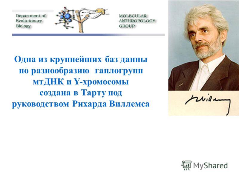 Одна из крупнейших баз данны по разнообразию гаплогрупп мтДНК и Y-хромосомы создана в Тарту под руководством Рихарда Виллемса