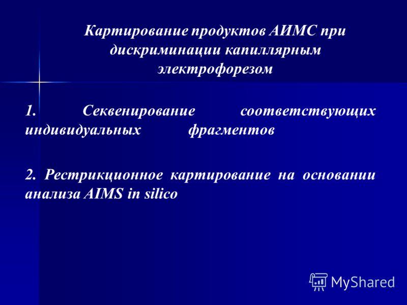 Картирование продуктов АИМС при дискриминации капиллярным электрофорезом 1. Секвенирование соответствующих индивидуальных фрагментов 2. Рестрикционное картирование на основании анализа AIMS in silico