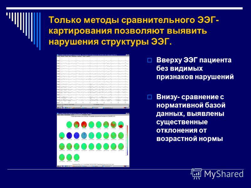 Только методы сравнительного ЭЭГ- картирования позволяют выявить нарушения структуры ЭЭГ. Вверху ЭЭГ пациента без видимых признаков нарушений Внизу- сравнение с нормативной базой данных, выявлены существенные отклонения от возрастной нормы