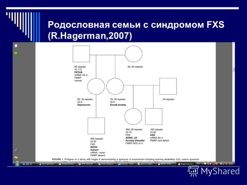 Родословная семьи с синдромом FXS (R.Hagerman,2007)