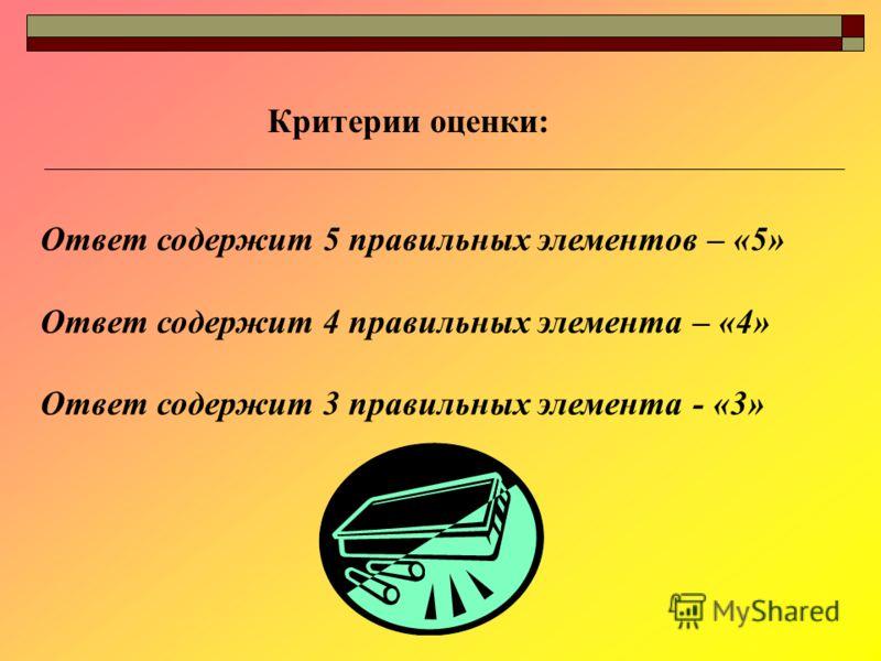 Ответ содержит 5 правильных элементов – «5» Ответ содержит 4 правильных элемента – «4» Ответ содержит 3 правильных элемента - «3» Критерии оценки: