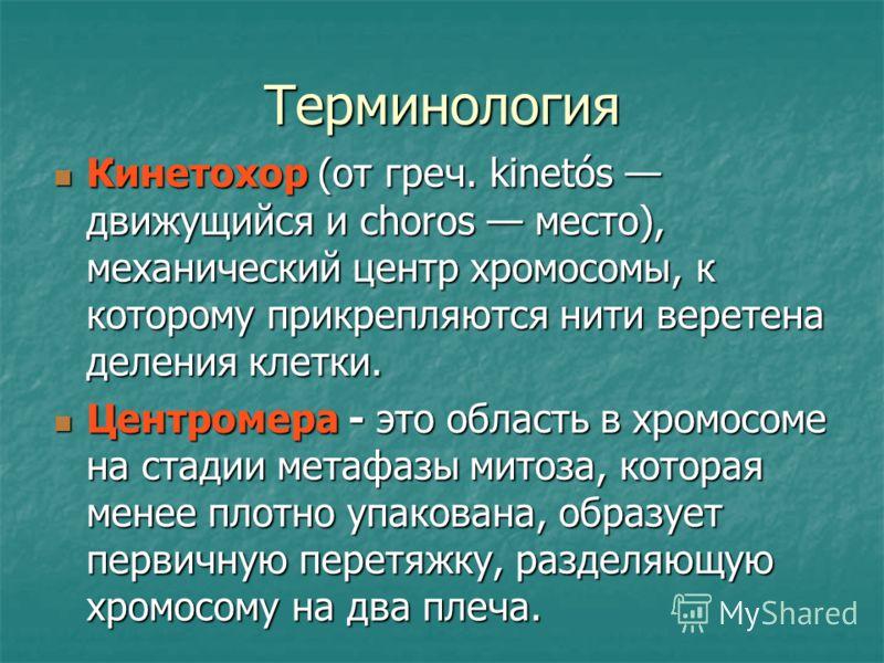 Терминология Кинетохор (от греч. kinetós движущийся и choros место), механический центр хромосомы, к которому прикрепляются нити веретена деления клетки. Кинетохор (от греч. kinetós движущийся и choros место), механический центр хромосомы, к которому