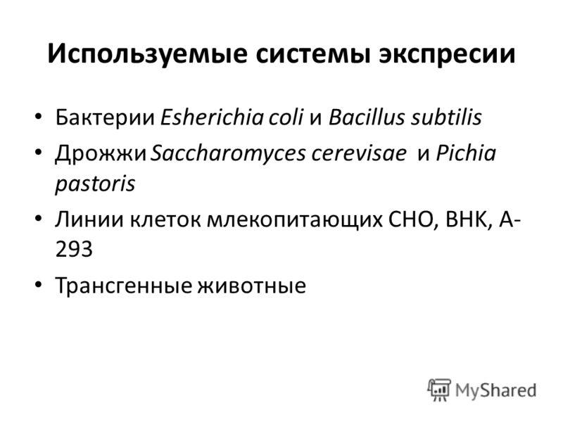 Используемые системы экспресии Бактерии Esherichia coli и Bacillus subtilis Дрожжи Saccharomyces cerevisae и Pichia pastoris Линии клеток млекопитающих CHO, BHK, A- 293 Трансгенные животные