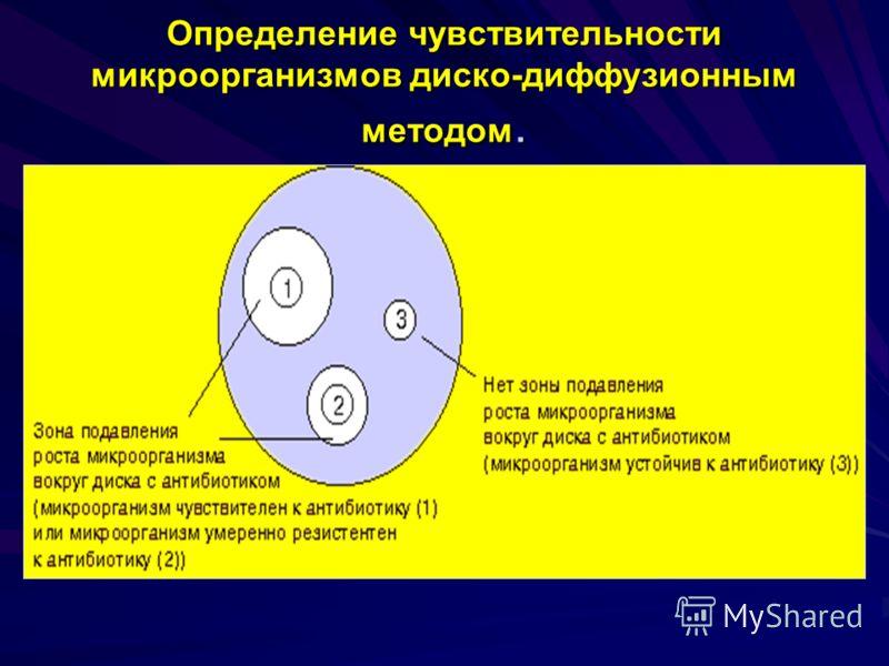 Определение чувствительности микроорганизмов диско-диффузионным методом.